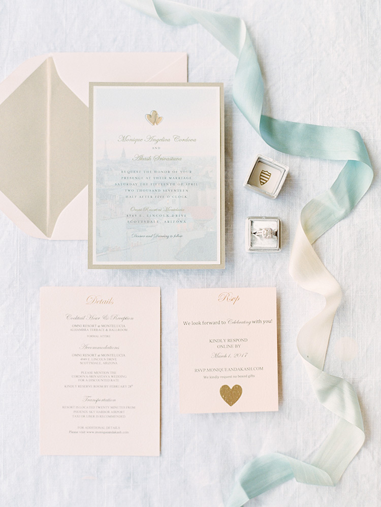 romantic wedding invitation & hand-dyed silk ribbon