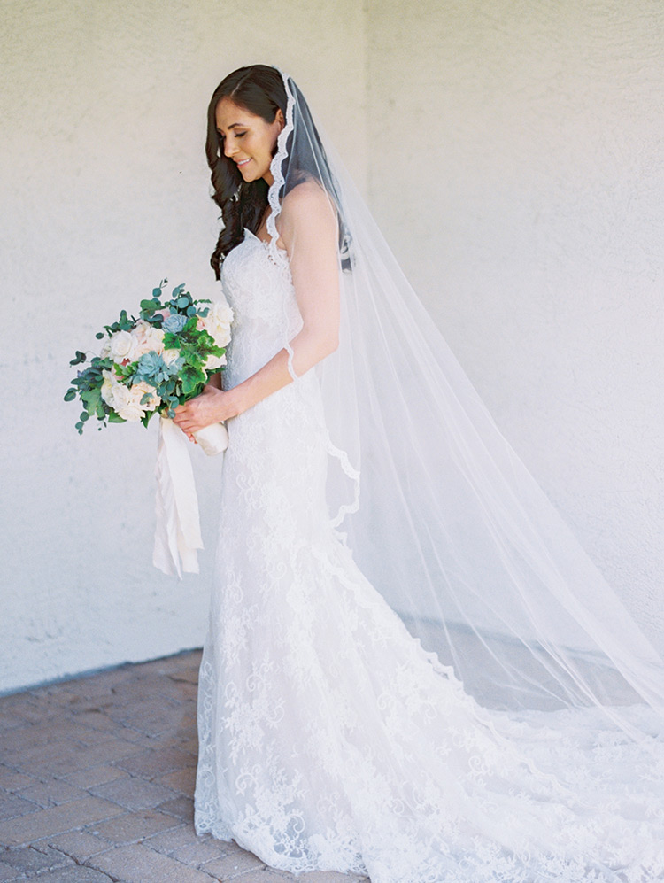 Lace gown & cathedral length veil