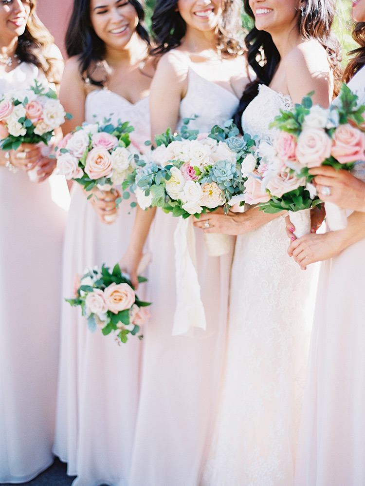 bridesmaids in palest pink
