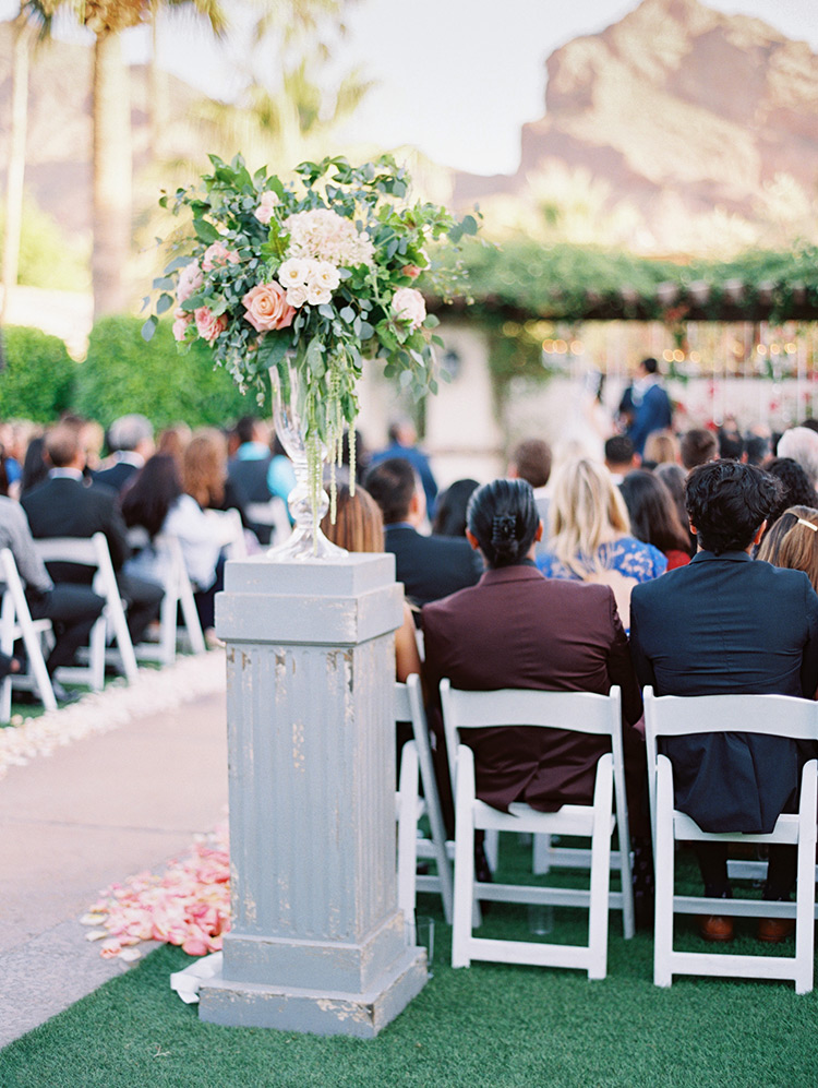 pale & romantic flowers, outdoor wedding ceremony