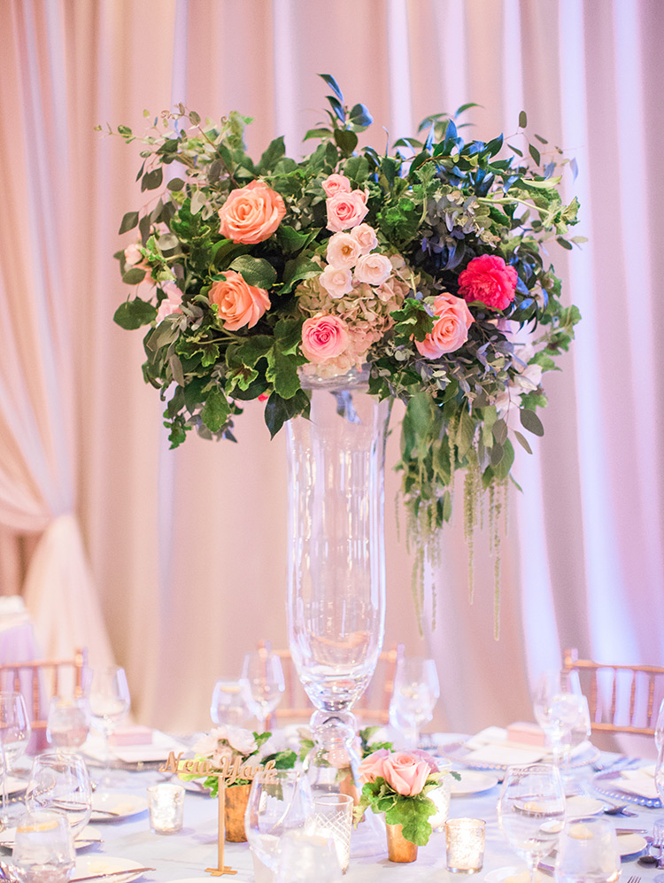 pale & romantic flowers, ballroom reception
