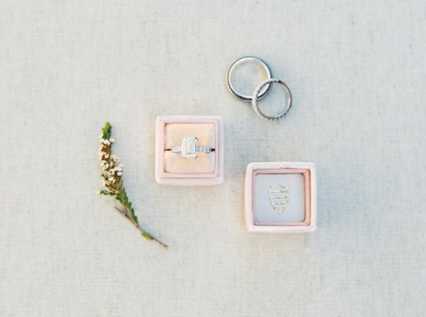 elegant engagement ring & wedding bands
