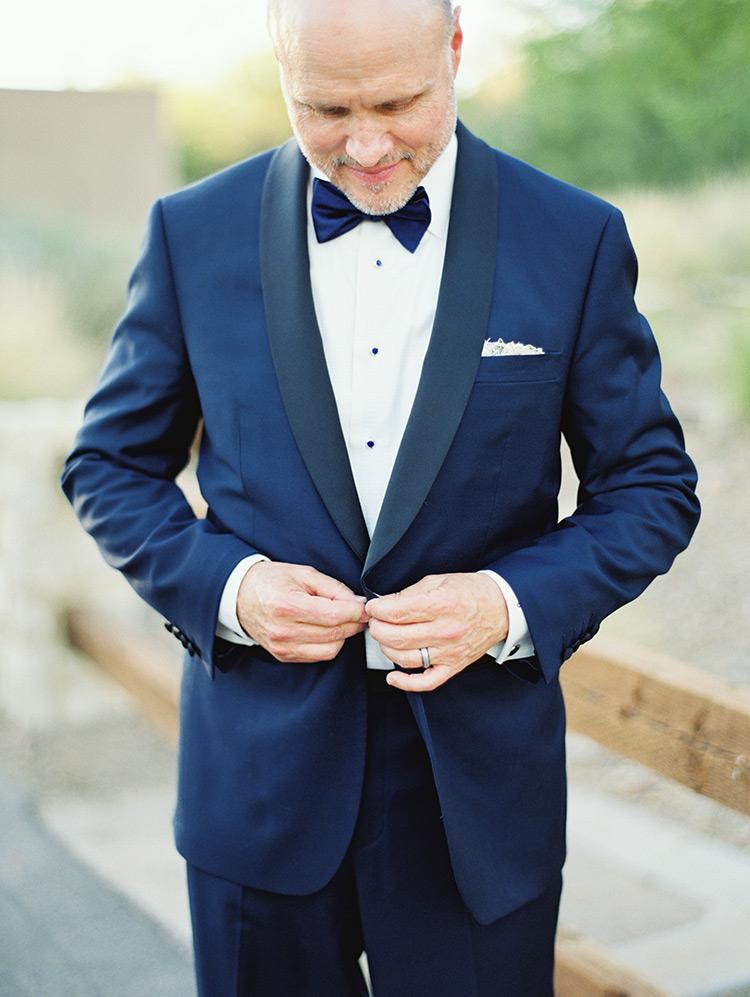 blue tux with shawl collar