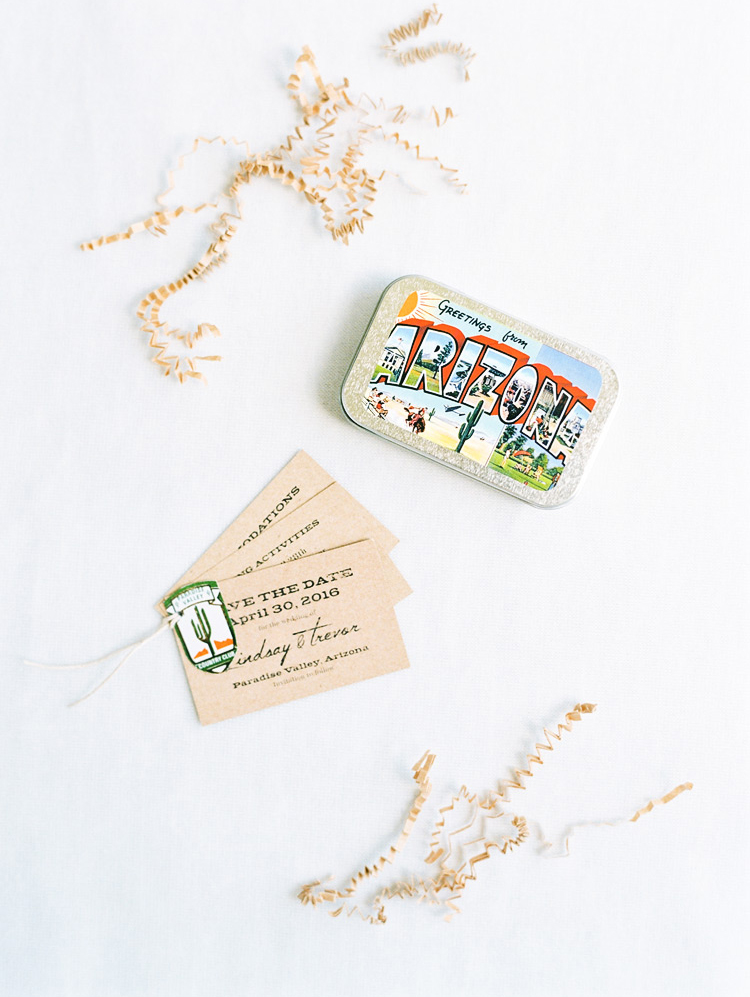 Creative & fun save the date card delivered in a mint tin. Whimsical wedding details.