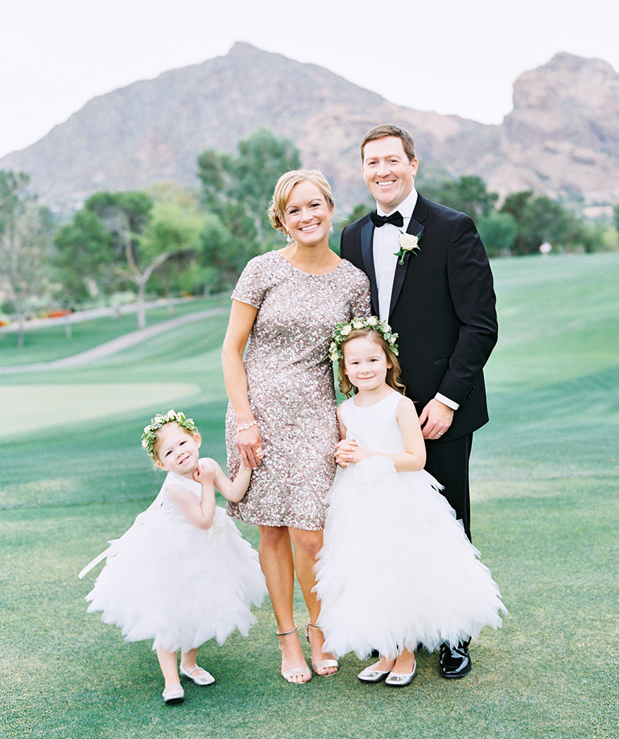 Wedding style! Adorable flower girls in ruffled dresses, bridesmaid in sequins.