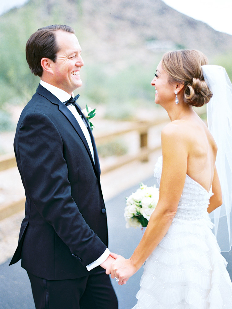 Happy moment before the wedding!  Portrait of a smiling bride & groom!