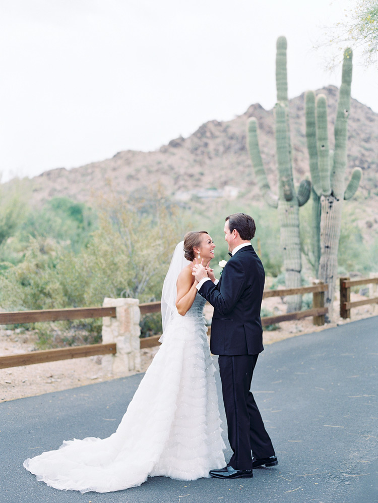 Happy moment before the wedding!  Portrait of a smiling bride & groom in the desert!