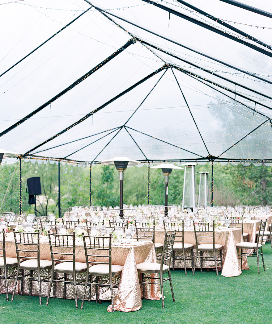 Spangles and sparkles! Sequined linens in outdoor wedding reception