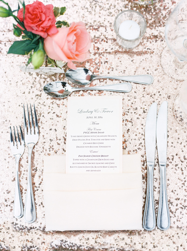 Sequined linens for an elegant outdoor wedding reception table