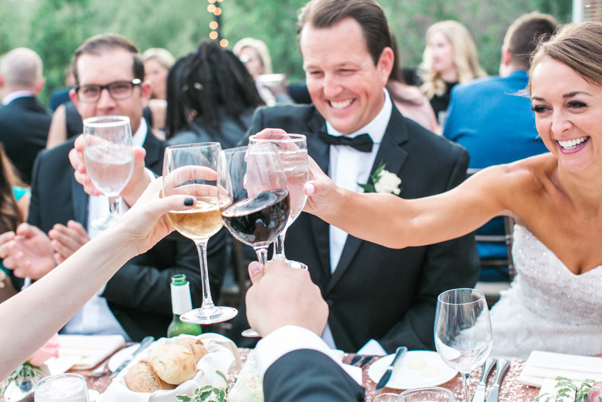 Raise a glass! Smiling bride & groom toast at their wedding reception