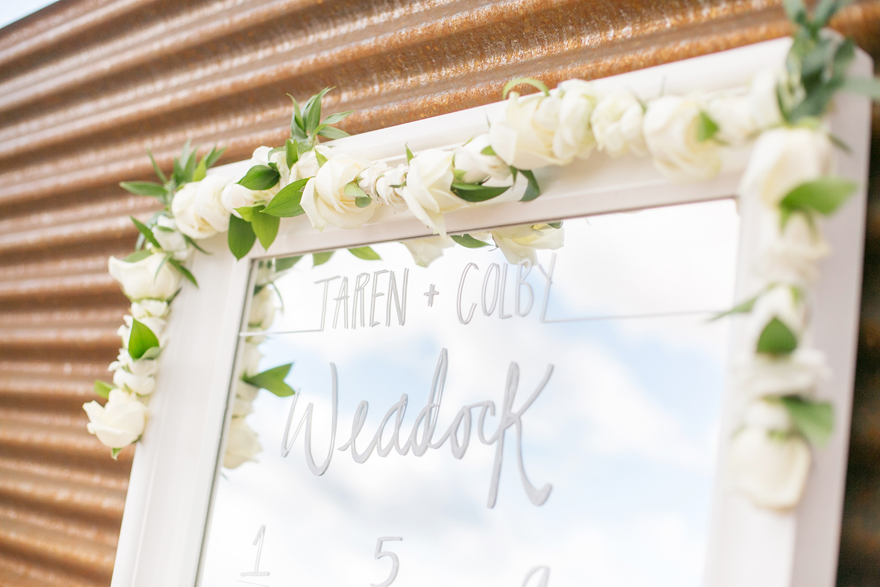 Mirror seating chart decorated for the wedding reception. DIY wedding project.