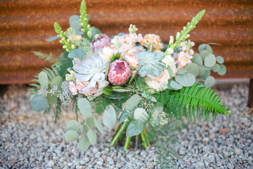 lavish bouquet with protea & succulents