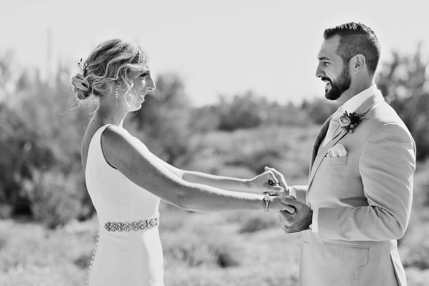 desert wedding at The Paseo - First Look