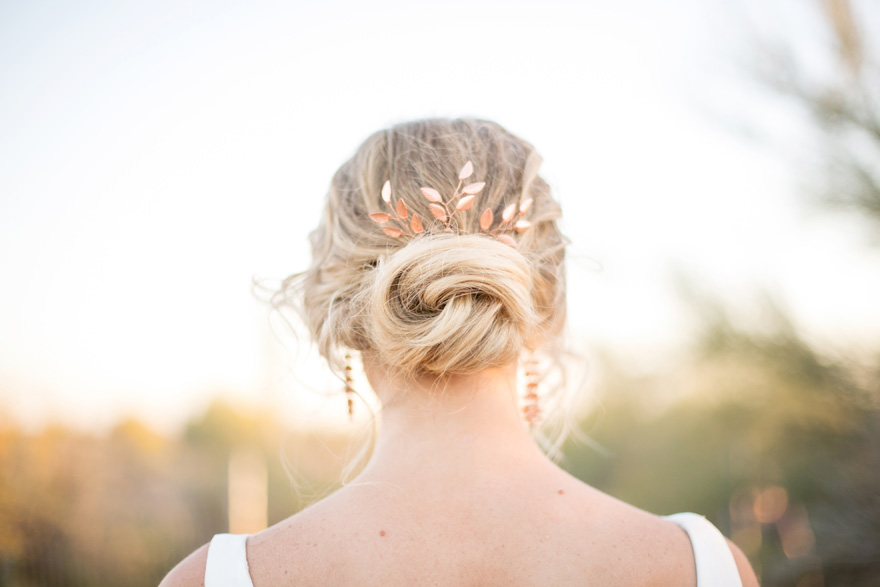 botanical-inspired rose-gold hair accessories