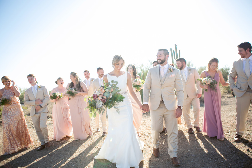 bridal party in the desert