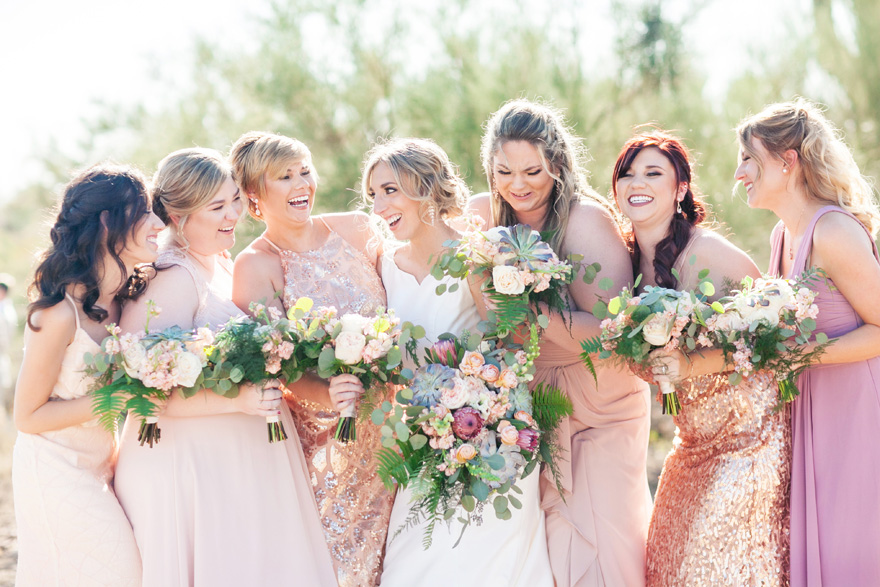 bridesmaids in blush and rose gold