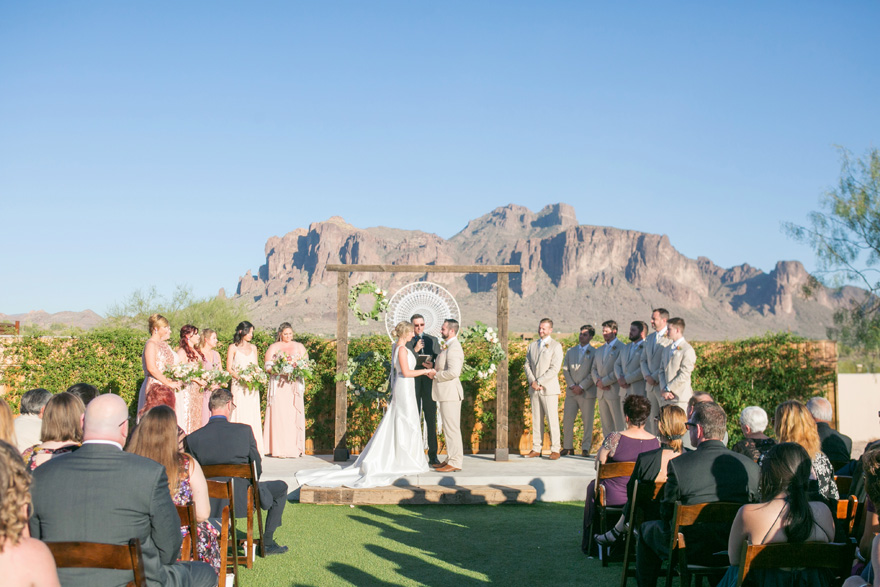 outdoor wedding with the Superstition Mountains in the background