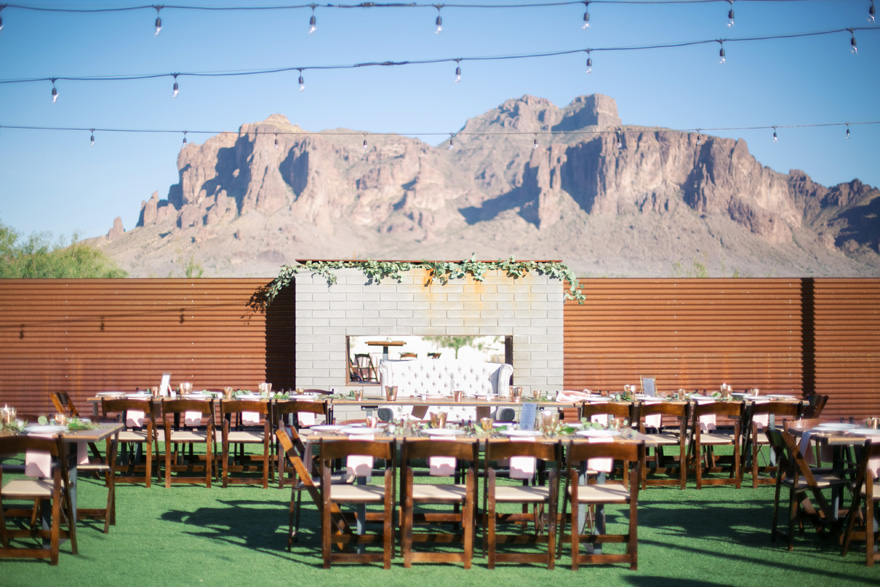 outdoor reception with the Superstition Mountains in the background