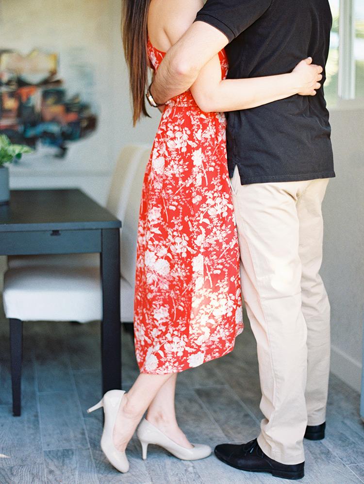 engagement photo shoot at home