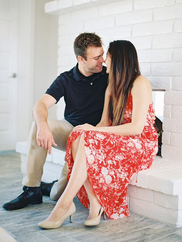 engagement photo shoot at home