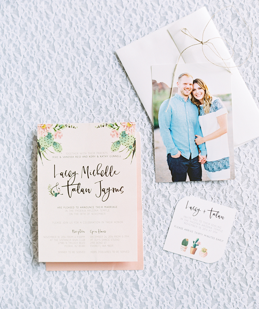 desert cactus wedding invitation