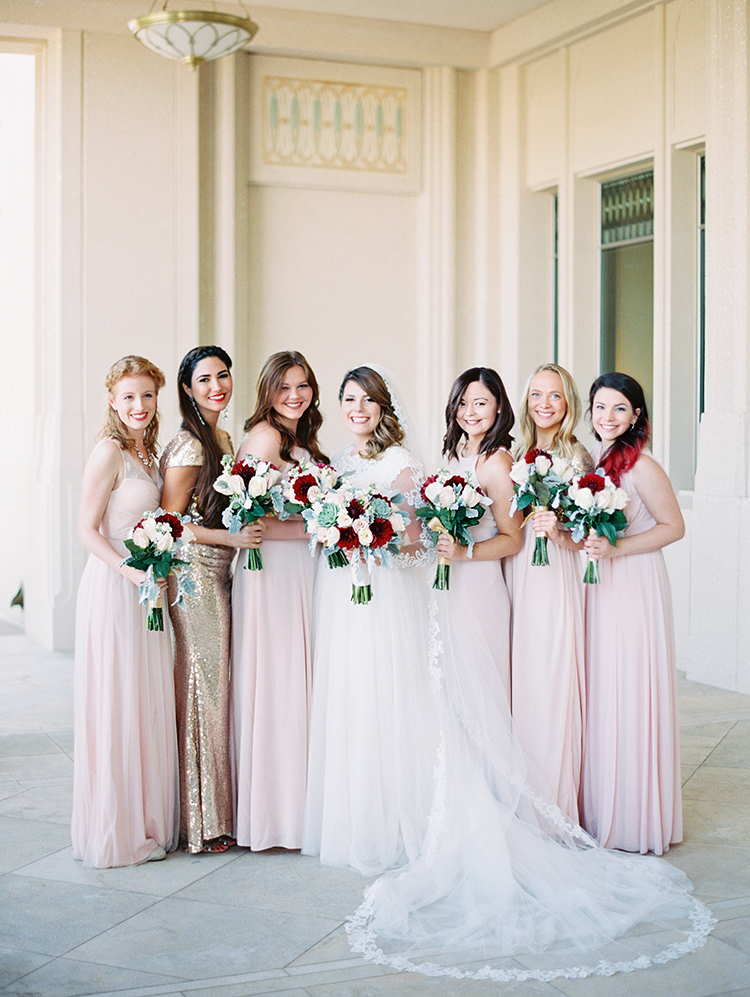 bridesmaids in blush and gold sequins