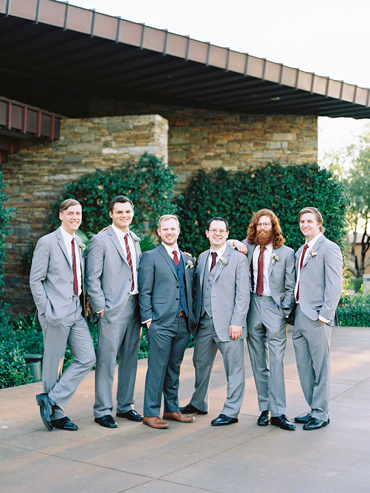 groomsmen in gray and red