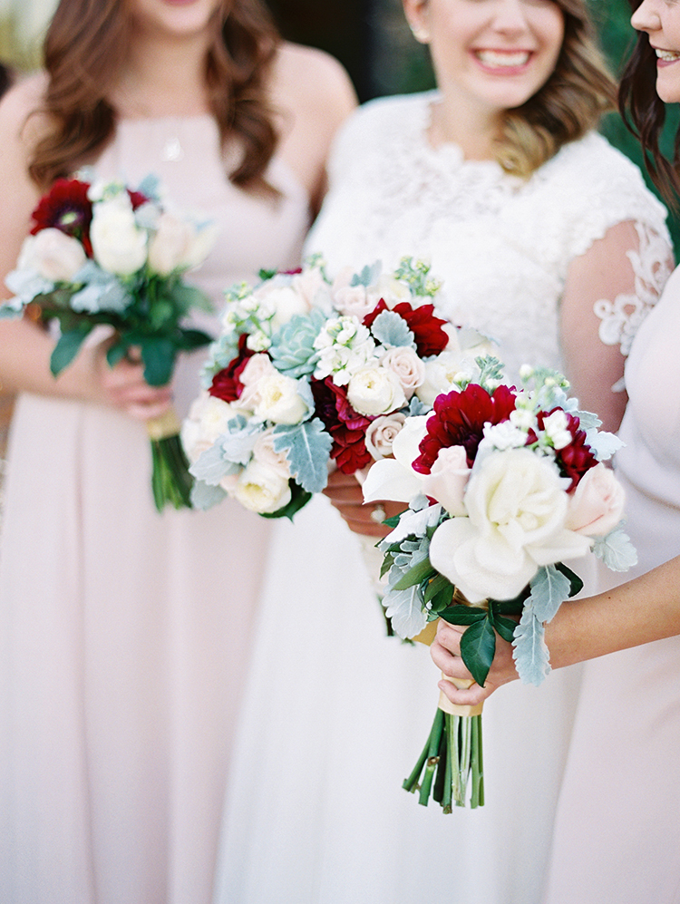 blush and burgundy bridesmaids