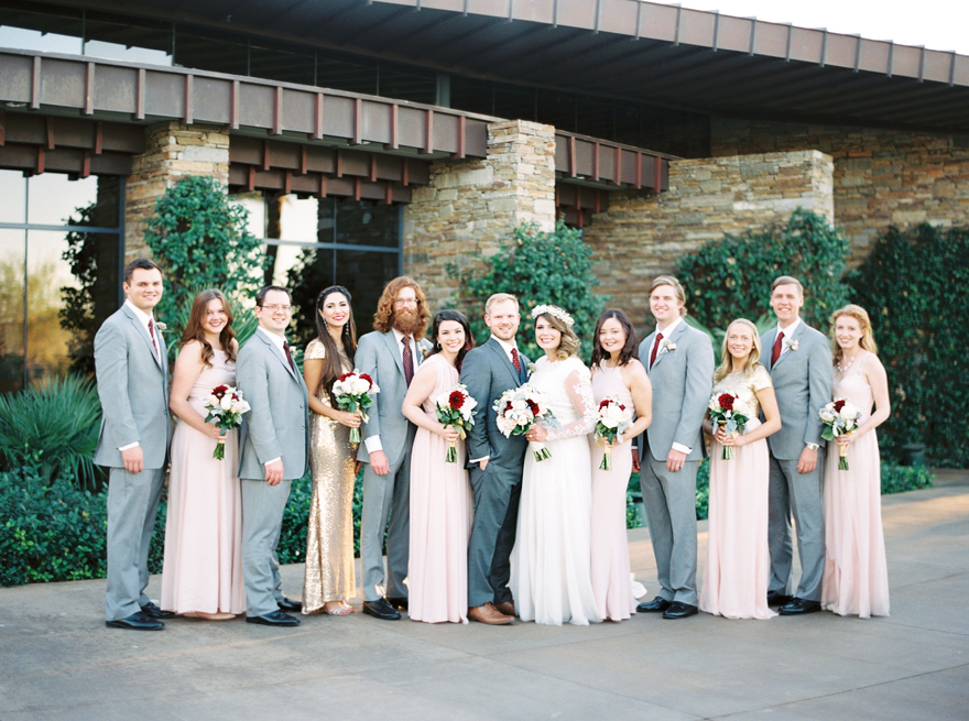 blush gray and burgundy bridal party