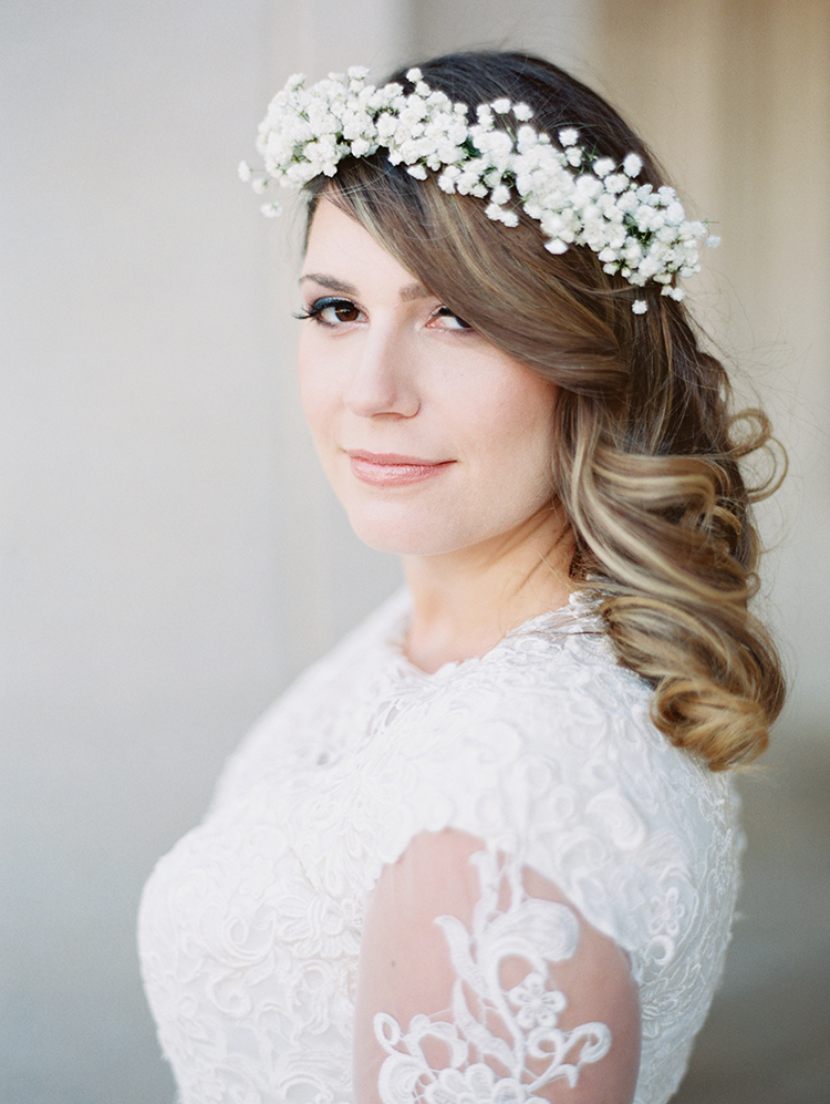 bride in a flower crown