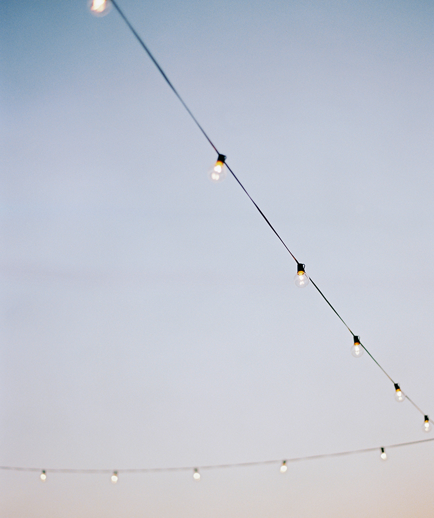 string lights for an outdoor wedding reception