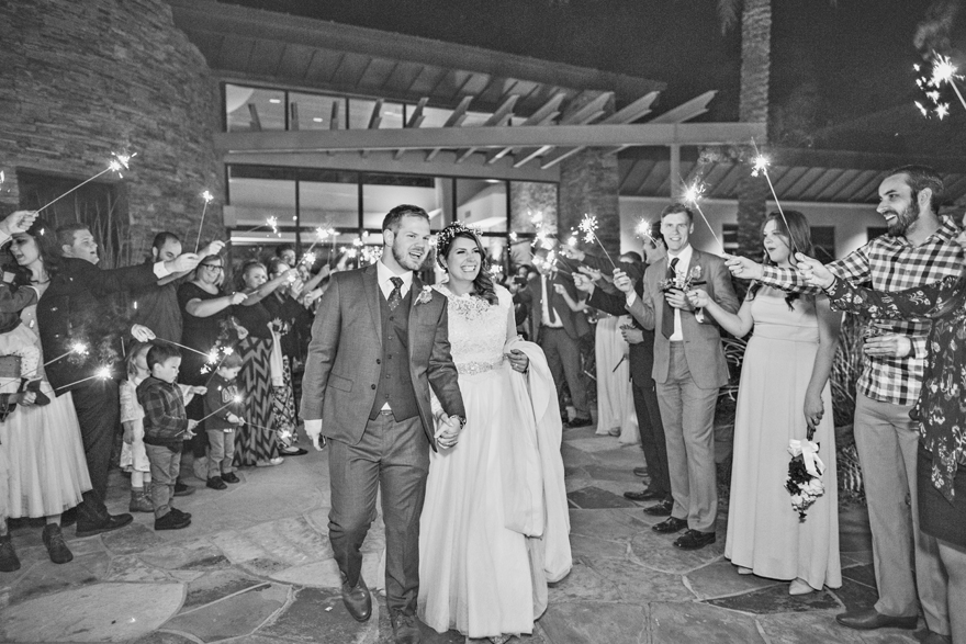 sparkler exit Trilogy at Vistancia Wedding
