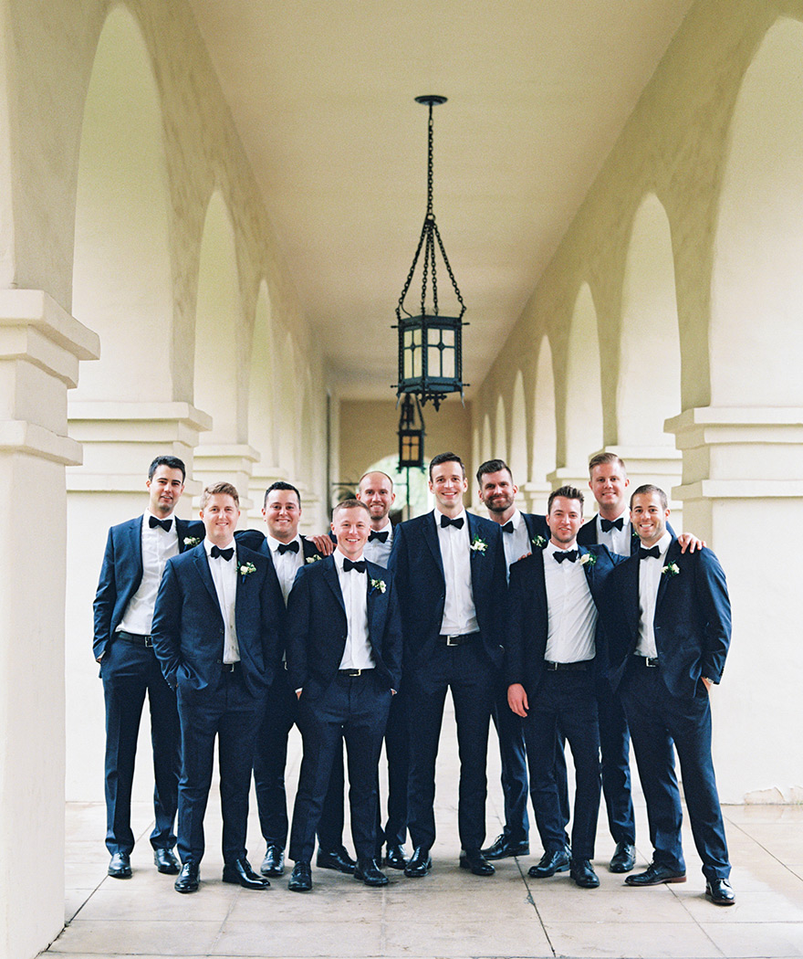 large group of groomsmen at Brophy Chapel