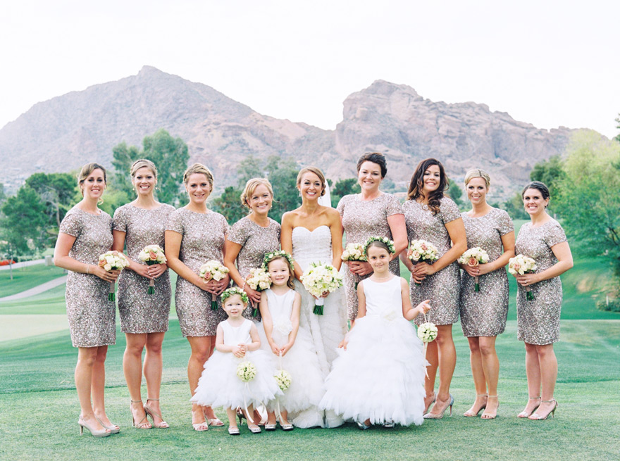 large group of bridesmaids at Paradise Valley Country Club