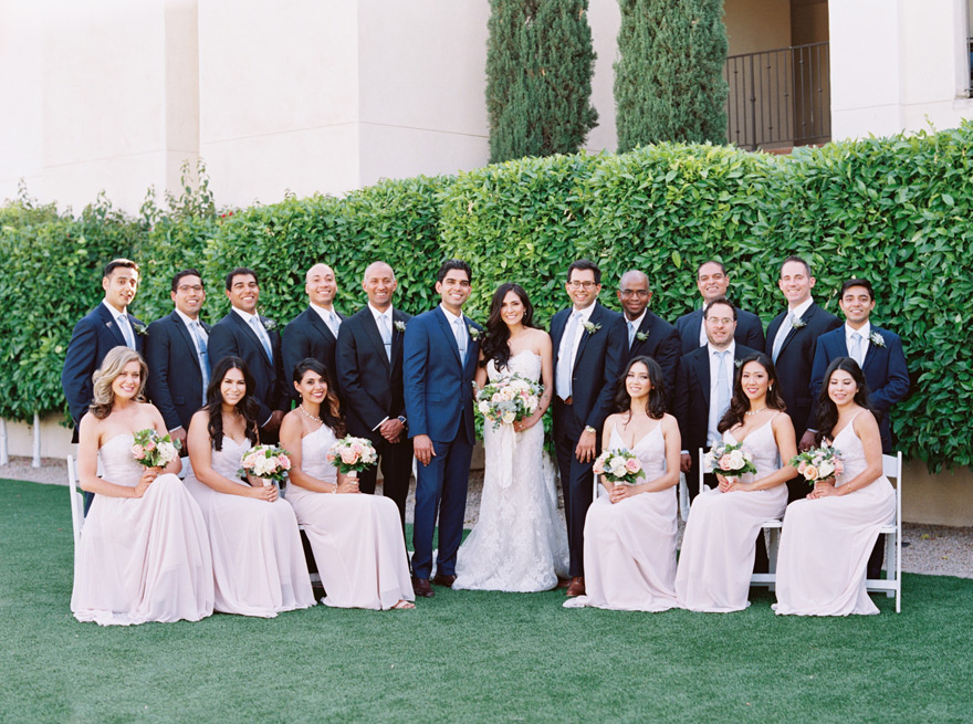 large bridal party at the Omni Scottsdale Resort at Montelucia