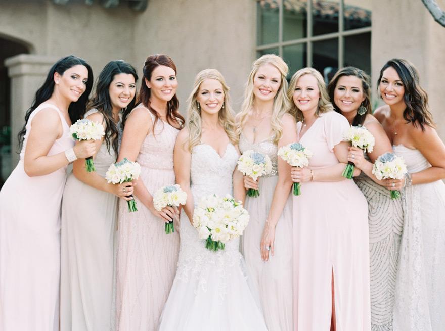 large bridal party at the Country Club at DC Ranch