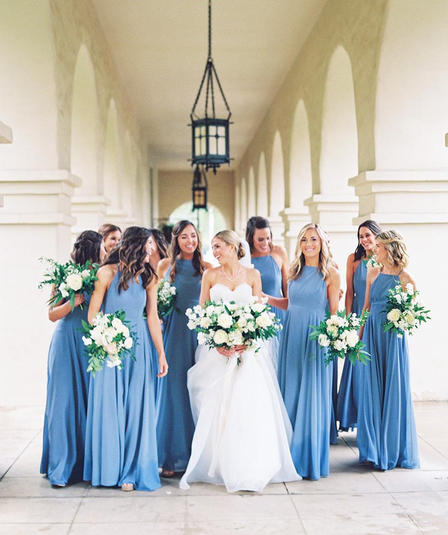 large group of bridesmaids at Brophy Chapel