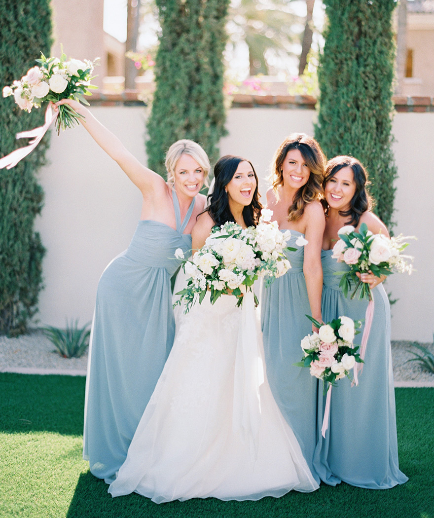 happy bridesmaids at the Omni Scottsdale Resort at Montelucia