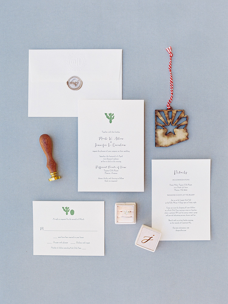 whimsical desert themed wedding invitation