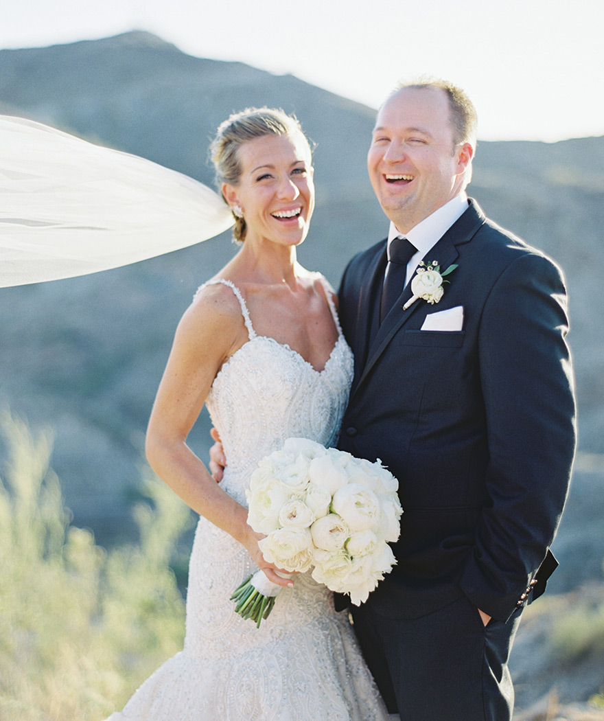 laughing wedding portrait Phoenix desert