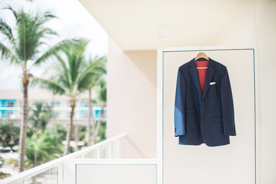 Groom's navy suit jacket
