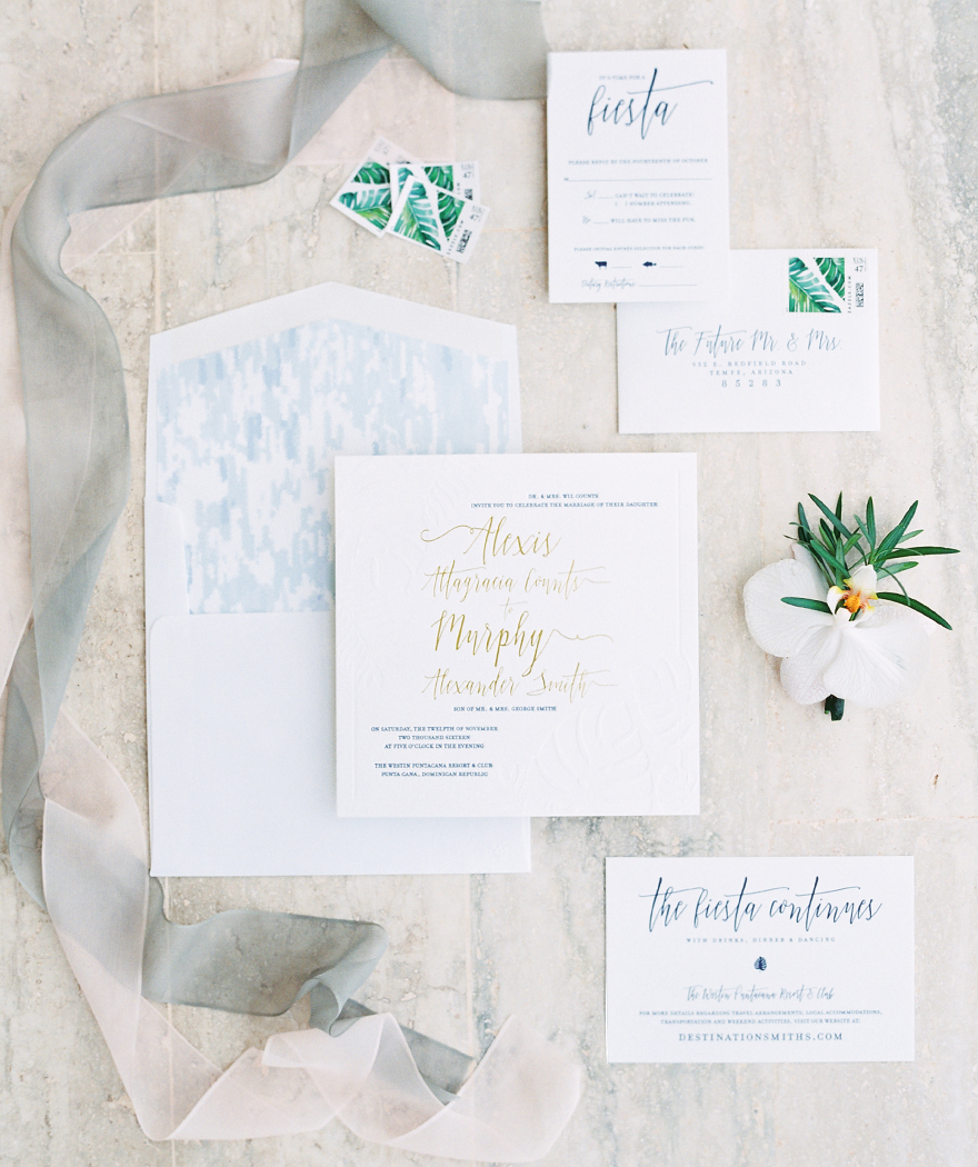 tropical destination wedding invitation suite by Idieh Design