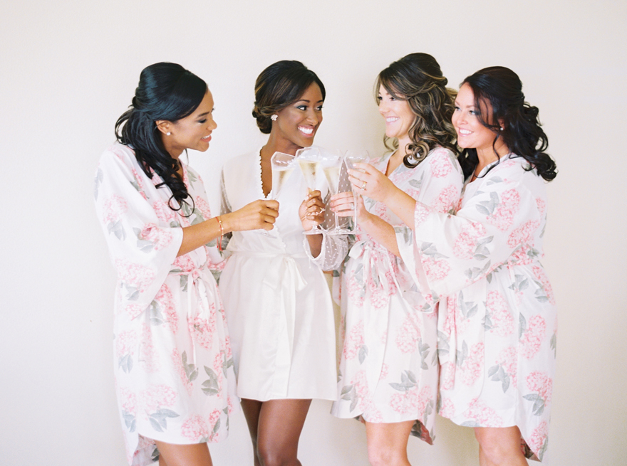 bridesmaid champagne toast