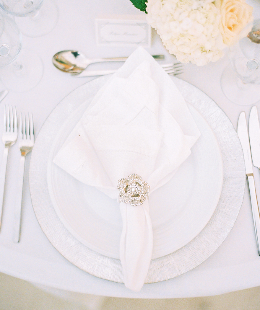 white table setting for wedding reception