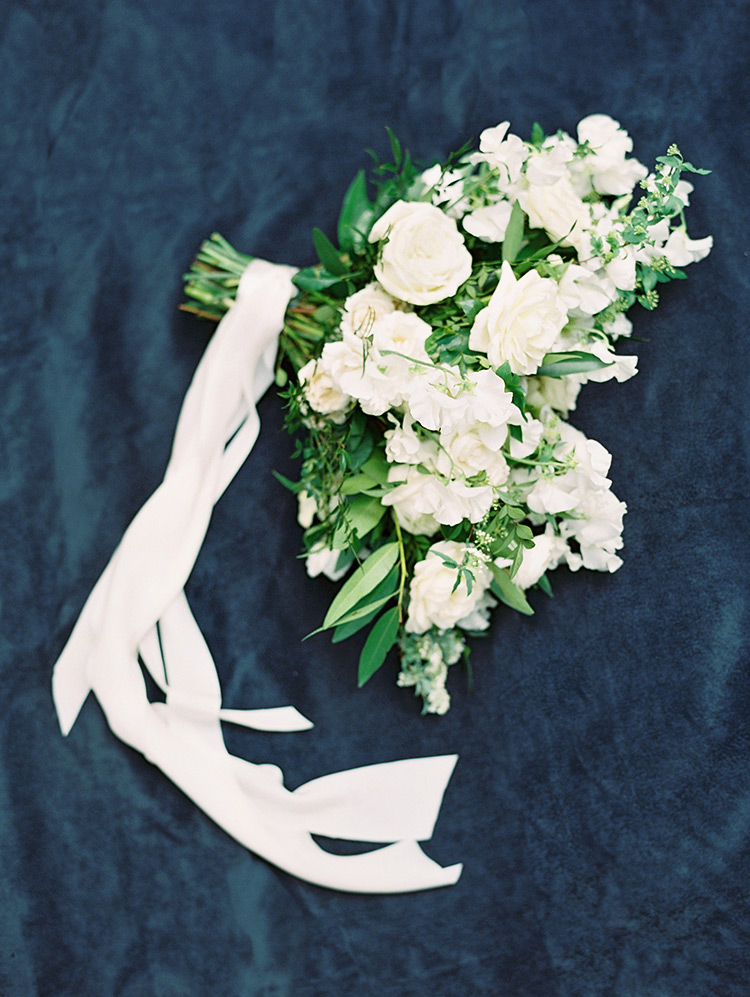 white organic textured bouquet tied with silk ribbon