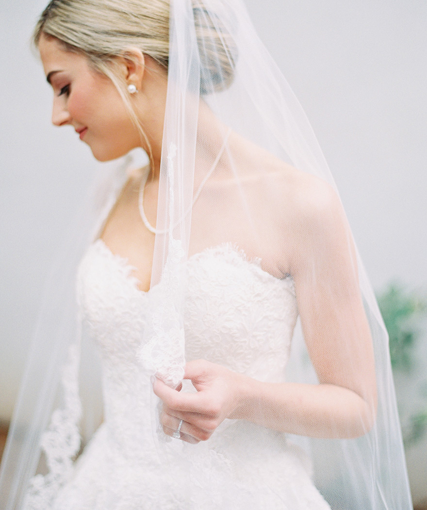cathedral veil with lace edging