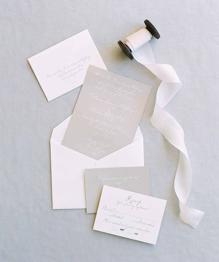 Gray and white minimal wedding invitation