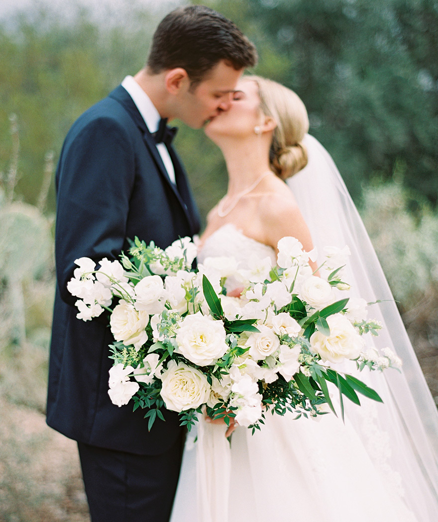 lavish white bouquet with fresh greenery