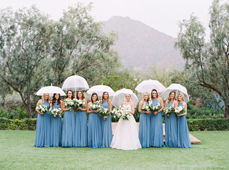 rainy day bridesmaids in robins egg blue