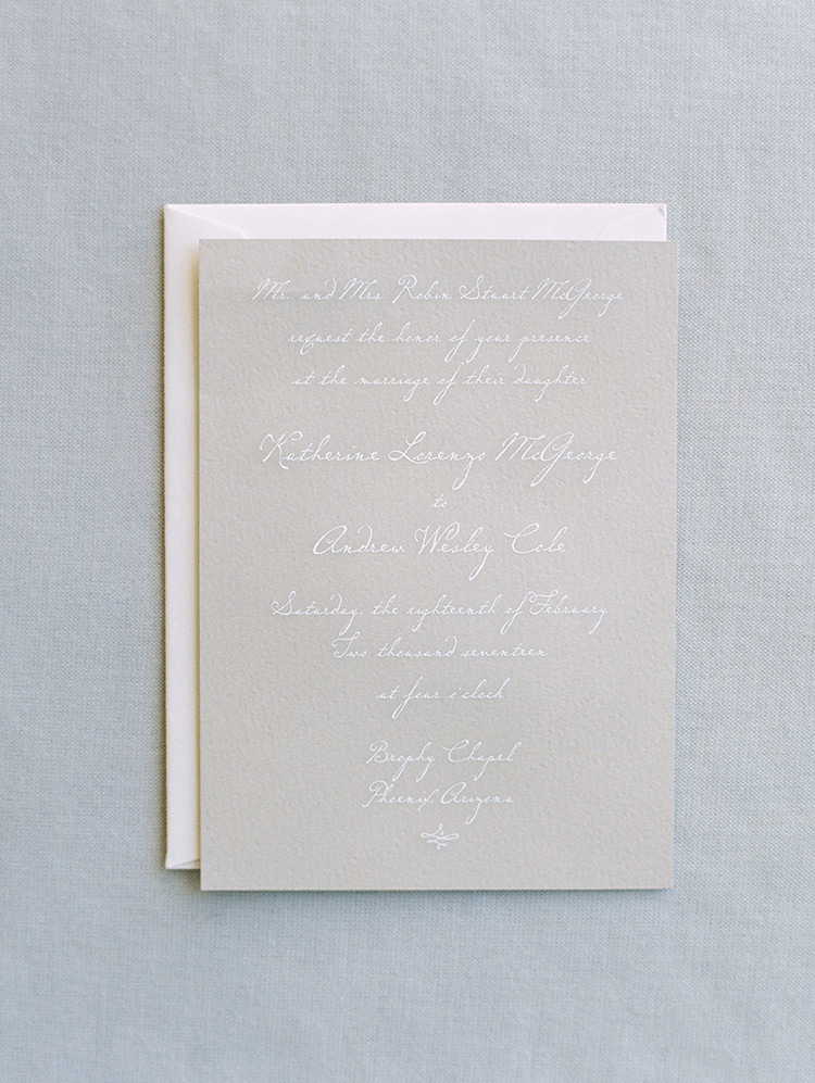 minimal taupe and white wedding invitation